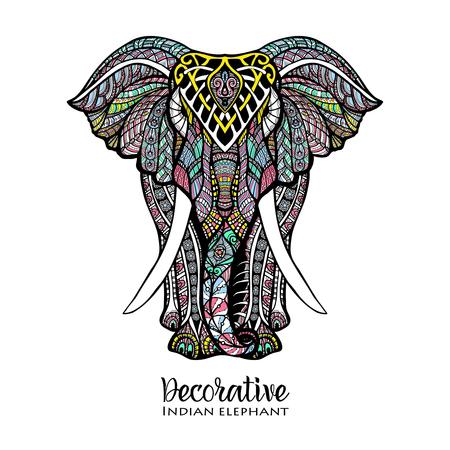 elefante: Dibujado a mano vista elefante frente con color ilustración del vector del ornamento