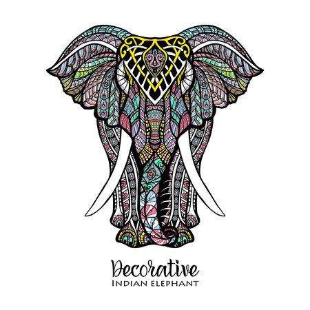 Hand drawn front view elephant with colored ornament vector illustration Vettoriali