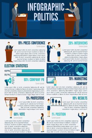 candidates: Politics infographics set with election candidates debates symbols and charts vector illustration