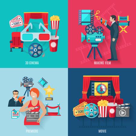 camara de cine: La creación de películas y estrenos iconos conjunto con los actores de cine cine 3d y director plana aislados ilustración vectorial