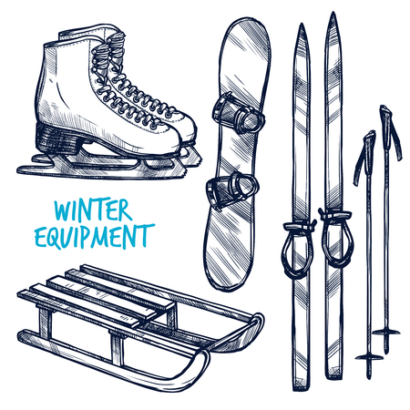 skiing: Sketch winter sport objects with hand drawn ski sled and snowboard isolated vector illustration