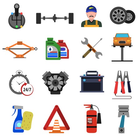 car engine: Car service icons flat set with auto repair symbols isolated vector illustration