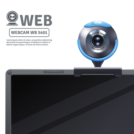 computer model: Webcam fixed on computer or laptop with model data realistic vector illustration Illustration