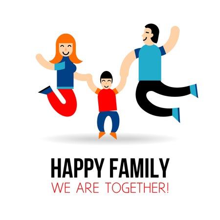 apoyo familiar: Concepto de familia feliz con el salto de los padres y el hijo de siluetas ilustraci�n vectorial