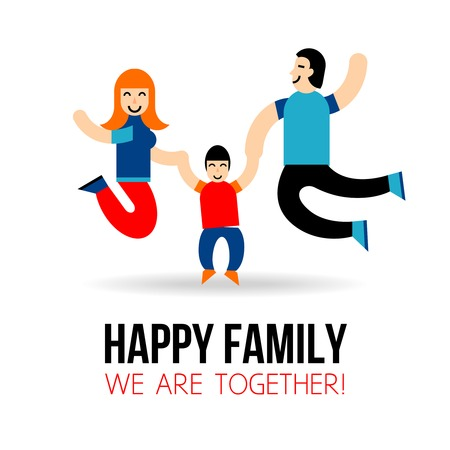 young people fun: Happy family concept with jumping parents and son silhouettes vector illustration Illustration