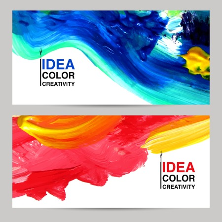 colorful paint: Paper banner horizontal set with colored paint drawing isolated vector illustration Illustration