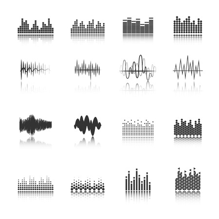 computerized: Audio equalizer sound wave fragment black icons set in various amplitude and shapes abstract isolated vector illustration