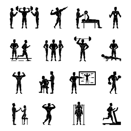 trainer: Sport trainer and gym coach white and black set isolated vector illustration