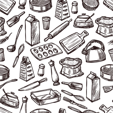 Baking seamless pattern with sketch kitchen equipment and tools vector illustration