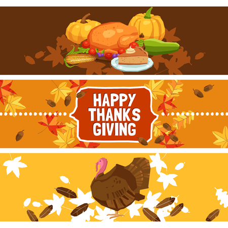 thanksgiving: Thanksgiving day horizontal banner set with traditional food and symbols isolated vector illustration Illustration