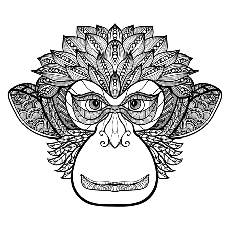 Doodle front view monkey face with decorative ornament black vector illustration 矢量图像