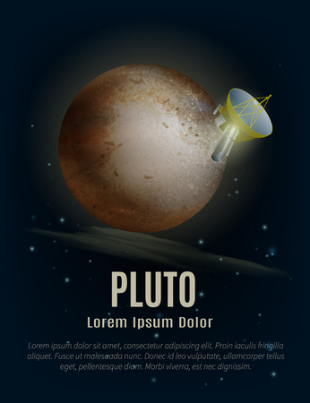 artificial satellite: Pluto planet poster with artificial satellite space and stars cartoon vector illustration Illustration