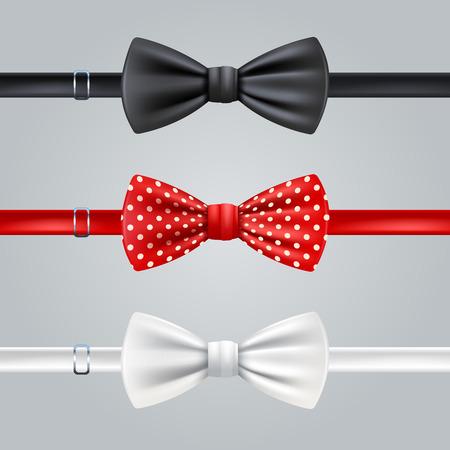 noeud papillon: Noir Rouge cravates pointillés et blancs ensemble réaliste vecteur isolé illustration
