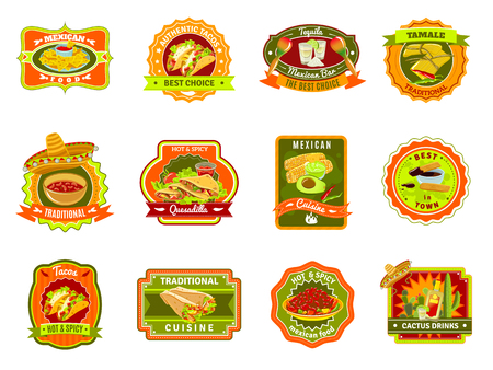 nachos: Mexican traditional food cafe restaurant and bar flat bright color emblem set isolated vector illustration
