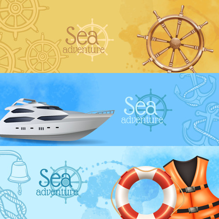 life jackets: Sea adventure and travel horizontal realistic banners set with yacht and helm isolated vector illustration