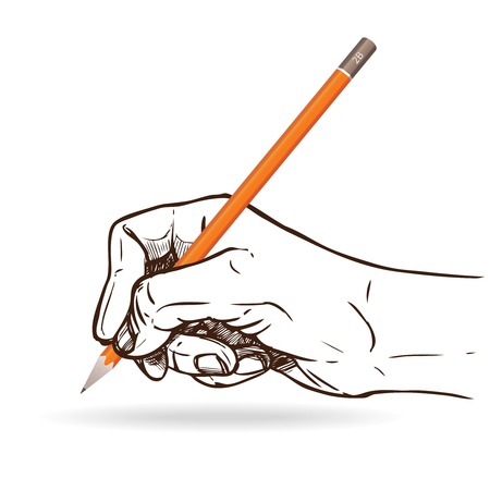 graphite: Sketch human hand holding graphite pencil for writing vector illustration