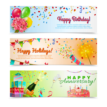 party streamers: Happy anniversary birthday party celebration in holidays season 3 horizontal festive colorful decorative banners abstract vector illustration