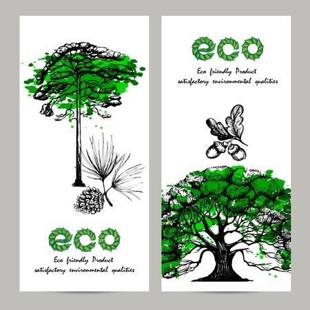 tree  pine: Ecolog�a bandera vertical colocada con la ilustraci�n vectorial de roble y pino �rboles dibujados a mano aislado Vectores