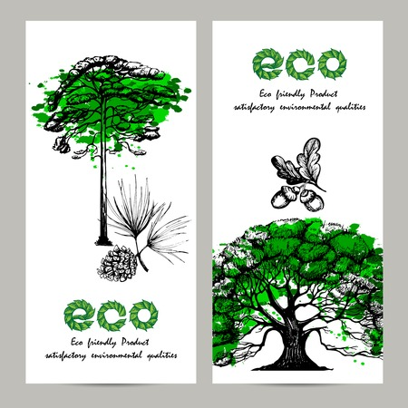 oak trees: Ecology vertical banner set with hand drawn oak and pine trees isolated vector illustration