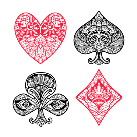 ace of clubs: Playing card suits hand drawn set with decorative ornament isolated vector illustration