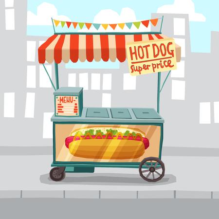 super dog: Hot dog cart shop on city street background vector illustration