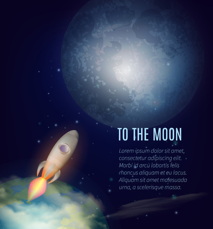 cartoon space: Moon exploration poster with Earth spaceship and outer space cartoon vector illustration Illustration