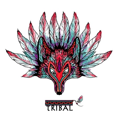 wolves: Doodle colored wolf tribal ritual mask with feathers and ornament vector illustration