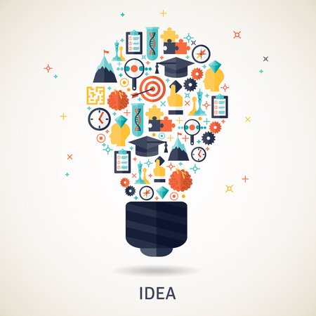 strategy decisions: Business idea and planning concept illustration in a lamp shape flat vector illustration Illustration