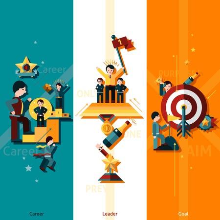 lider: Banner vertical éxito conjunto con elementos planos meta líder carrera aislado ilustración vectorial