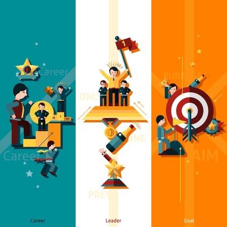 the leader: Success vertical banner set with career leader goal flat elements isolated vector illustration Illustration
