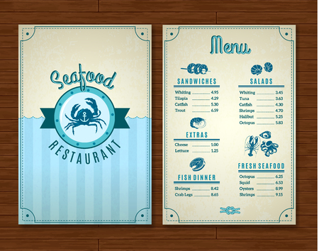 Seafood restaurant menu template with ocean design symbols vector illustration