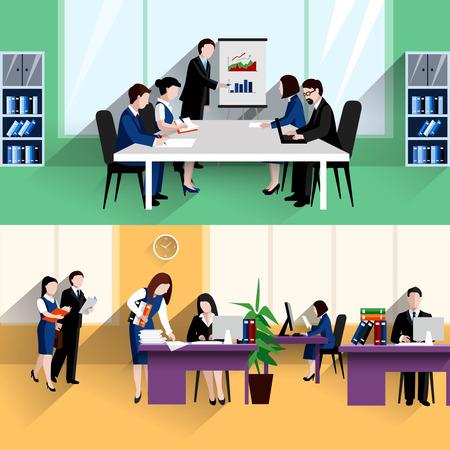 朝毎日報告会やオフィスの仕事状況 2 つのフラット バナー構成抽象的な分離ベクトル イラスト ポスター