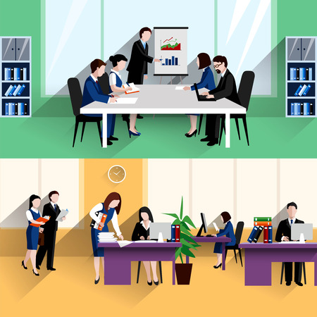 Morning daily briefing meeting and office work situation two flat banners composition poster abstract isolated vector illustration