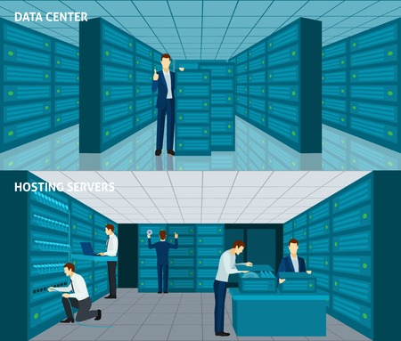 datacenter: Datacenter horizontal banner set with hosting servers elements isolated vector illustration