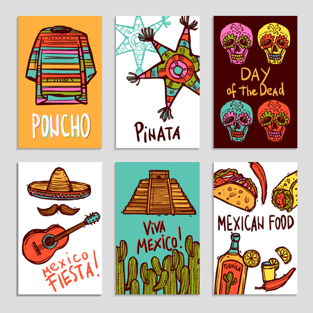 poncho: Cartel de M�xico fij� con poncho pi�ata y alimentos elementos dibujados a mano ilustraci�n vectorial aislado