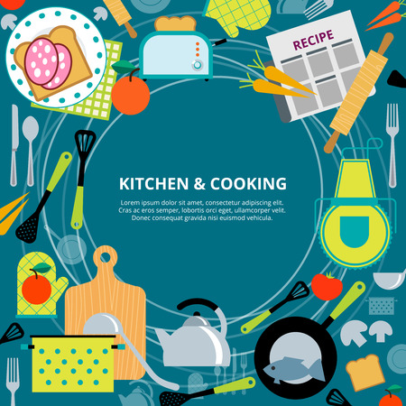 commercial kitchen: Home healthy and fast cooking  concept poster with kitchen appliances and recipes  pictograms composition abstract vector illustration