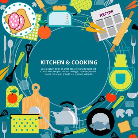 Inicio cartel concepto de cocina sana y rápida con aparatos de cocina y recetas pictogramas ilustración vectorial composición abstracta Ilustración de vector
