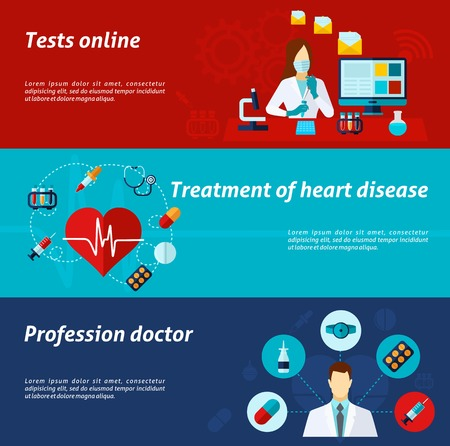 healthy people: Medical banner horizontal set with tests online and treatment elements isolated vector illustration Illustration