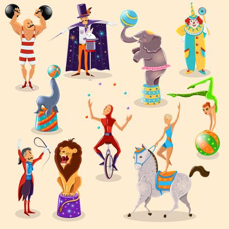 circo: Símbolos del circo del vintage iconos composición del hombre fuerte de payaso y mago con truco del conejo abstracto aislado ilustración vectorial