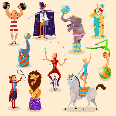 strongman: Vintage circus symbols icons composition of clown strongman and magician with rabbit trick abstract isolated vector illustration