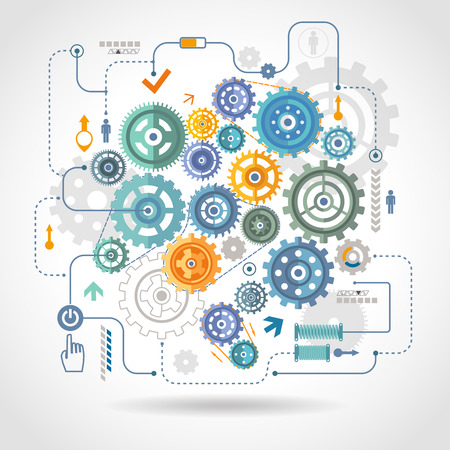 Cogwheels gear mechanical mechanism detail rotation work  schema with relay switch and start button abstract vector illustration Illustration