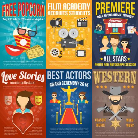 CINE: Estreno de la película de mini promo plantillas de carteles fijados aislados ilustración vectorial