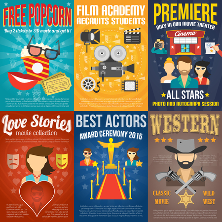 movie and popcorn: Movie premiere mini promo poster templates set isolated vector illustration