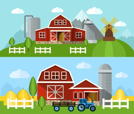 barns: Farm buildings and hangars flat horizontal banner set isolated vector illustration