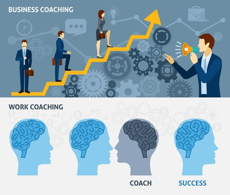 teamwork business: Business coaching as a way to quick success two horizontal flat banners set poster abstract vector illustration