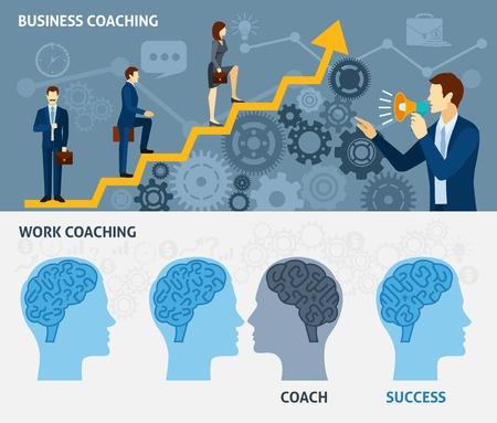 lideres: Coaching de negocios como una forma de éxito rápido dos banderas planas horizontales cartel establecer ilustración vectorial abstracto