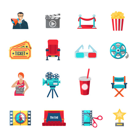 cinema seats: Filmmaking and production icons set with cinema director and awards flat isolated vector illustration