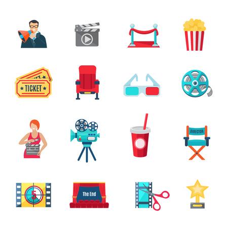 Filmmaking en productie pictogrammen die met cinema regisseur en awards vlakke geïsoleerde vector illustratie Stockfoto - 45351720