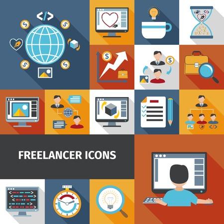 Freelancer Arbeit und Remote-Office-Symbole isoliert Vektor-Illustration gesetzt Standard-Bild - 45351722