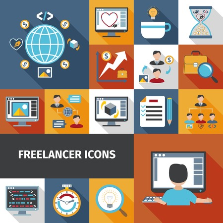 office plan: Freelancer work and remote office icons set isolated vector illustration